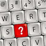 Computer keyboard with a key with a Question Stock Photo - Royalty-Free, Artist: TAlex                         , Code: 400-05676722
