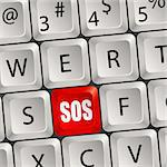Computer keyboard with a key with SOS Stock Photo - Royalty-Free, Artist: TAlex                         , Code: 400-05676723