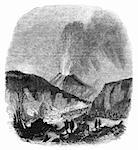 Vesuvius volcano erupting in 1839 Engraved image from The Penny Magazine, may 1843.