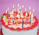 Birthday cake with burning candles and icing Stock Photo - Royalty-Free, Artist: Elenathewise                  , Code: 400-05677037