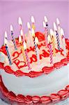Birthday cake with burning candles and icing on pink background Stock Photo - Royalty-Free, Artist: Elenathewise                  , Code: 400-05677038
