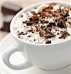 Cup of hot cocoa with shaved chocolate and whipped cream Stock Photo - Royalty-Free, Artist: Elenathewise                  , Code: 400-05677045