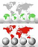 Illustration with world globes and world map Stock Photo - Royalty-Free, Artist: dayzeren                      , Code: 400-05677379