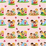 cartoon family seamless pattern Stock Photo - Royalty-Free, Artist: notkoo2008                    , Code: 400-05677491