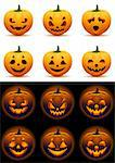 Vector illustration - Halloween pumpkins icon set