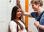 Student couple flirting in a corridor Stock Photo - Royalty-Free, Artist: 4774344sean                   , Code: 400-05677856