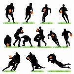 Detailed rugby silhouettes set Stock Photo - Royalty-Free, Artist: kaludov                       , Code: 400-05678345