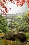 Rock and Bridge under the Maple Tree at Japanese Garden Stock Photo - Royalty-Free, Artist: jpldesigns                    , Code: 400-05678536