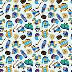 cartoon hockey sport seamless pattern  Stock Photo - Royalty-Free, Artist: notkoo2008                    , Code: 400-05679211