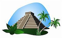 Illustration with Mayan Pyramid isolated on white background Stock Photo - Royalty-Freenull, Code: 400-05679667
