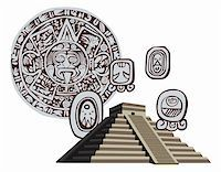 Illustration with Mayan Pyramid and ancient glyphs Stock Photo - Royalty-Freenull, Code: 400-05679668