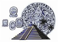 Illustration with Mayan Pyramid and ancient glyphs Stock Photo - Royalty-Freenull, Code: 400-05679670