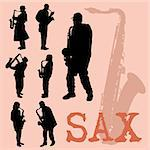 Saxophone players silhouettes set Stock Photo - Royalty-Free, Artist: kaludov                       , Code: 400-05679943