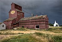 Prairie Grain Elevator and Church Saskatchewan Canada Stock Photo - Royalty-Freenull, Code: 400-05680004