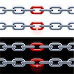 Chain with red link on white and black. Concept: Leadership, strength.