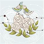 abstract cute floral vector illustration with birds