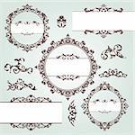 set of vector floral vintage design elements Stock Photo - Royalty-Free, Artist: SelenaMay                     , Code: 400-05680321
