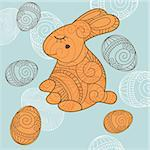 abstract vector background with rabbit and eggs Stock Photo - Royalty-Free, Artist: SelenaMay                     , Code: 400-05680346