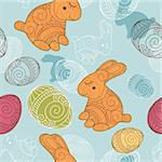 abstract vector background with rabbit and eggs Stock Photo - Royalty-Free, Artist: SelenaMay                     , Code: 400-05680347