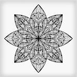 vector abstract highly detailed monochrome flower Stock Photo - Royalty-Free, Artist: alexmakarova                  , Code: 400-05680386