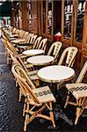 Street view of a Cafe terrace with empty tables and chairs,paris France Stock Photo - Royalty-Free, Artist: ilolab                        , Code: 400-05680438