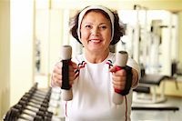 sweaty woman - Portrait of senior woman training in gym Stock Photo - Royalty-Freenull, Code: 400-05680494