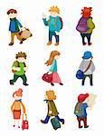 cartoon travel people icons set