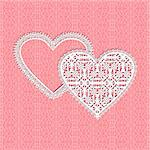 Red fine lace vector heart frame with floral pattern on lace background