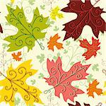 Autumn seamless decorative floral pattern with maple leaves (vector) Stock Photo - Royalty-Free, Artist: OlgaDrozd                     , Code: 400-05680614