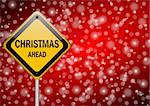 christmas ahead traffic sign on snowing background Stock Photo - Royalty-Free, Artist: alexwhite                     , Code: 400-05680798