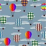 Seamless pattern with hot air balloons and clouds Stock Photo - Royalty-Free, Artist: catacos                       , Code: 400-05680909