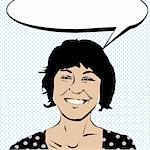Pop art drawing of a girl laughing and a speech bubble Stock Photo - Royalty-Free, Artist: catacos                       , Code: 400-05680915