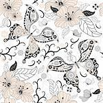 Gentle  white seamless floral pattern with pastel flowers and butterflies (vector) Stock Photo - Royalty-Free, Artist: OlgaDrozd                     , Code: 400-05682940