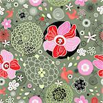 seamless bright floral pattern on a green background with birds Stock Photo - Royalty-Free, Artist: tanor                         , Code: 400-05683080