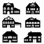 Various single family houses icon set Stock Photo - Royalty-Free, Artist: soleilc                       , Code: 400-05683197
