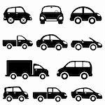 Various models cars and trucks icon set Stock Photo - Royalty-Free, Artist: soleilc                       , Code: 400-05683199