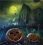 Pumpkins in graveyard with church ruins Stock Photo - Royalty-Free, Artist: Sandralise                    , Code: 400-05683276
