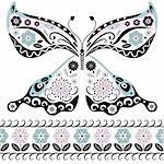 Vintage decorative butterfly isolated on white and floral seamless border (vector) Stock Photo - Royalty-Free, Artist: OlgaDrozd                     , Code: 400-05683303