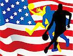 Basketball players with american flag Stock Photo - Royalty-Free, Artist: nezezon                       , Code: 400-05683469