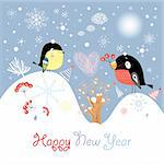 New Year's card with birdies on a lavender background with snowflakes