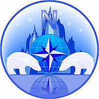 Emblem of North Pole with polar bears in a vector Stock Photo - Royalty-Freenull, Code: 400-05683738