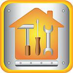 button with tools - screwdriver, spanner and hammer in house Stock Photo - Royalty-Free, Artist: keltt                         , Code: 400-05683786