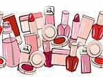 Various cosmetics in seamless horizontal border on white Stock Photo - Royalty-Free, Artist: nurrka                        , Code: 400-05684208
