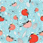 seamless pattern of bright bullfinches on a blue background with snow Stock Photo - Royalty-Free, Artist: tanor                         , Code: 400-05685070