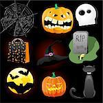 Halloween Icons A collection of nine fun Halloween icons. Grouped for easy editing. Vector illustration   Stock Photo - Royalty-Free, Artist: MarketOlya                    , Code: 400-05685078