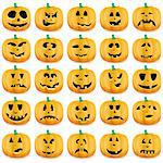 Big set of halloween pumpkins with Jack O`Lantern face, vector illustration   Stock Photo - Royalty-Free, Artist: MarketOlya                    , Code: 400-05685079