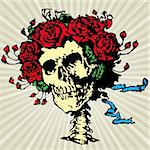 Skull in roses crown, vector illustration Stock Photo - Royalty-Free, Artist: MarketOlya                    , Code: 400-05685081