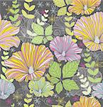 Seamless colorful floral pattern. Background with flowers and leafs. Stock Photo - Royalty-Free, Artist: lapesnape                     , Code: 400-05685192