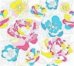 Seamless colorful floral pattern. Background with peonies and cherry blossom flowers.
