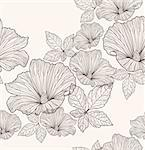 Seamless floral pattern. Background with flowers and leafs. Stock Photo - Royalty-Free, Artist: lapesnape                     , Code: 400-05685221